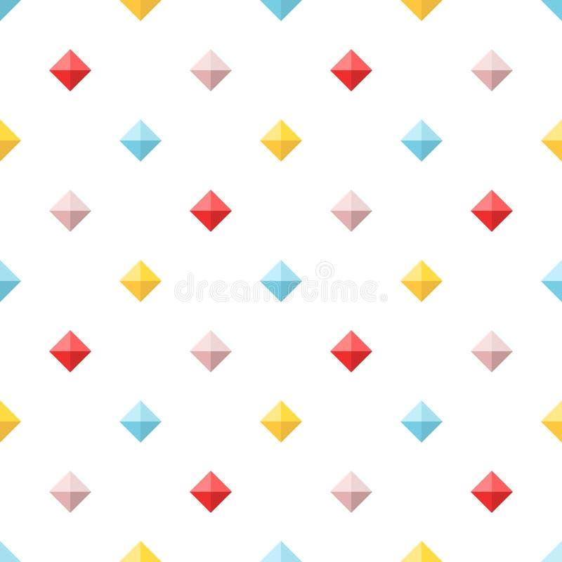 Teste padrão sem emenda com os diamantes lisos coloridos ilustração stock