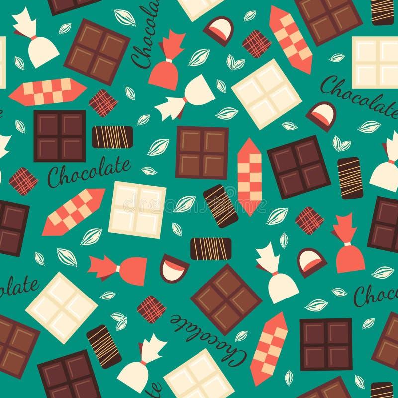 Teste padrão sem emenda com os doces do chocolate isolados sobre ilustração stock