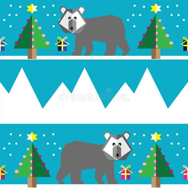 Teste padrão sem emenda com os dois ursos polares das máscaras, a neve, as árvores de Natal geométricas com luzes e os presentes  ilustração do vetor