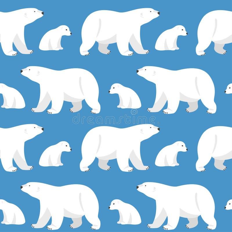Teste padrão sem emenda com os dois ursos polares, ela-ursos e ursos de peluche ilustração do vetor