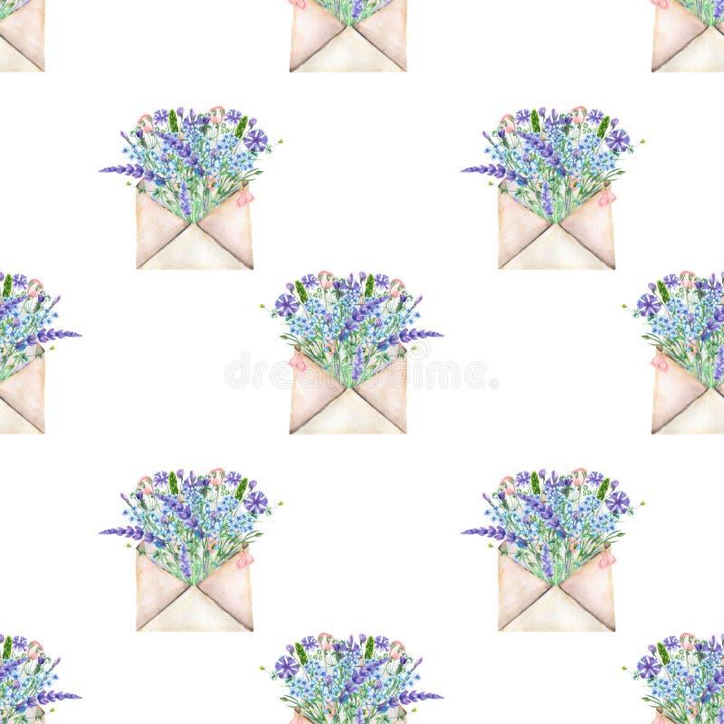 Teste padrão sem emenda com os envelopes do correio do vintage da aquarela e as flores azuis ilustração do vetor