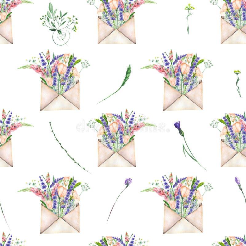 Teste padrão sem emenda com os envelopes e as flores do correio do vintage da aquarela ilustração stock