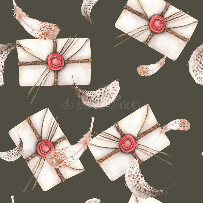 Teste padrão sem emenda com os envelopes e as penas do correio do vintage da aquarela ilustração do vetor