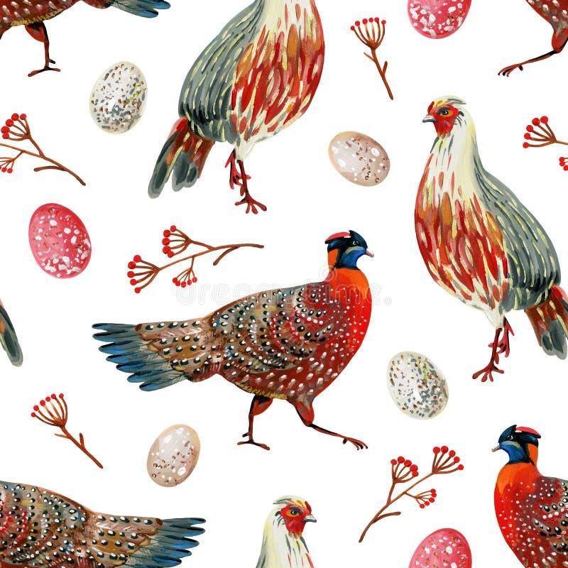 Teste padrão sem emenda com os faisão vermelhos desenhados à mão, os ovos manchados e os ramos com bagas ilustração royalty free