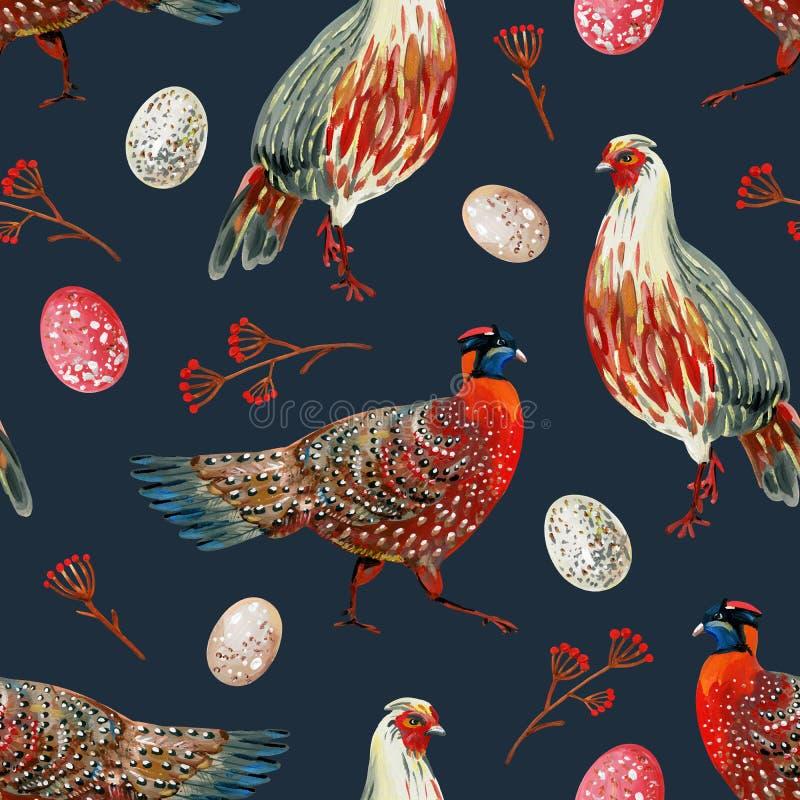Teste padrão sem emenda com os faisão vermelhos desenhados à mão, os ovos manchados e os ramos com bagas em um fundo escuro ilustração do vetor
