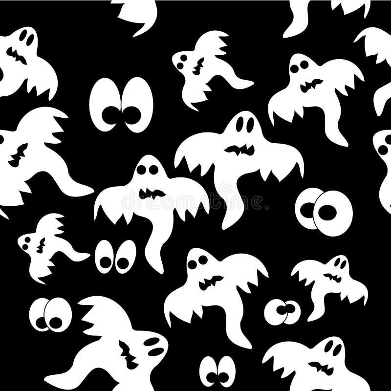 Teste padrão sem emenda com os fantasmas no fundo preto ilustração stock
