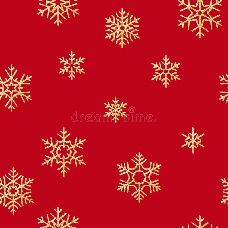 Teste padrão sem emenda com os flocos de neve dourados no fundo vermelho por feriados do Natal ou do ano novo Eps 10 ilustração do vetor