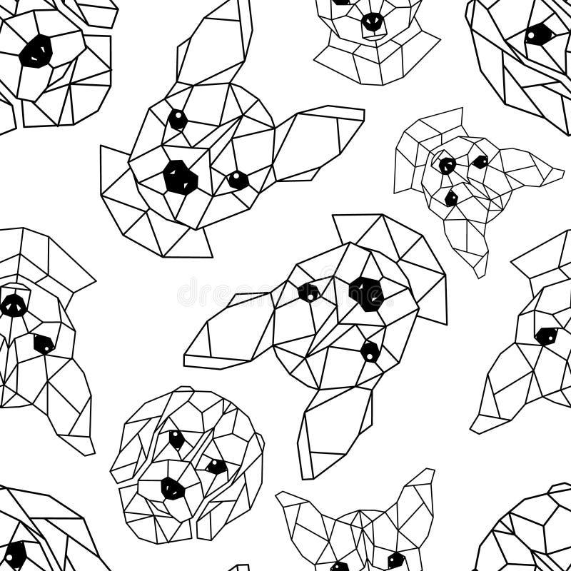 Teste padrão sem emenda com os focinhos geométricos dos cães ilustração do vetor