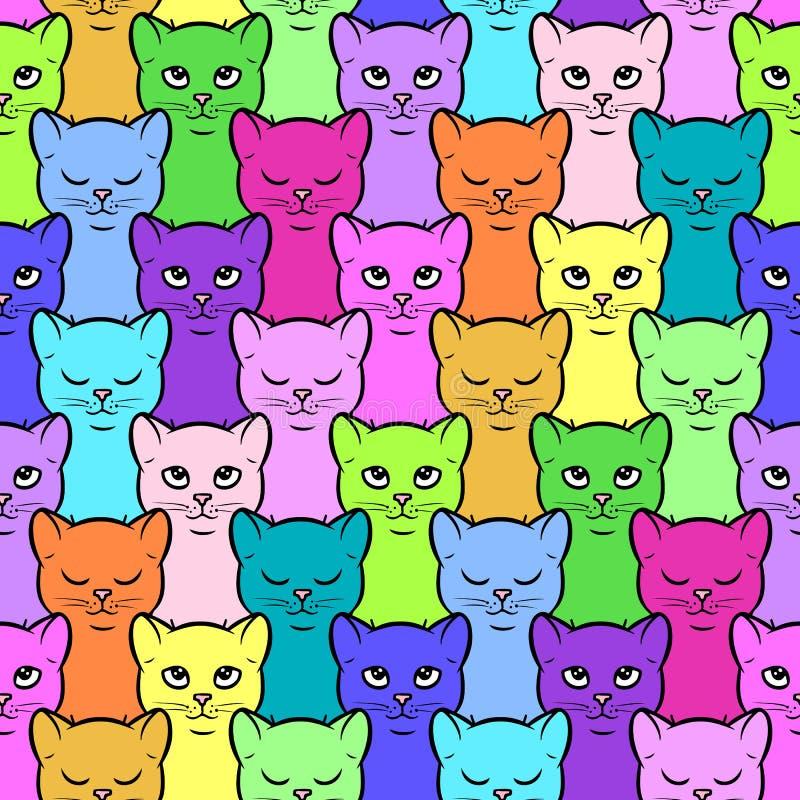 Teste padrão sem emenda com os gatinhos coloridos bonitos dos desenhos animados ilustração stock