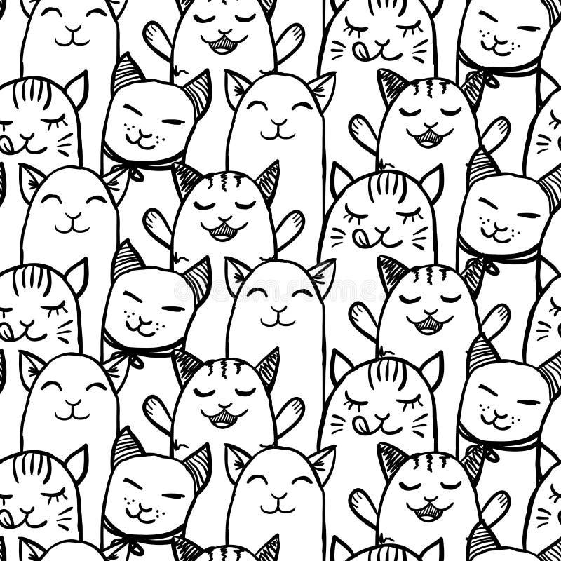 Teste padrão sem emenda com os gatinhos tirados mão ilustração stock