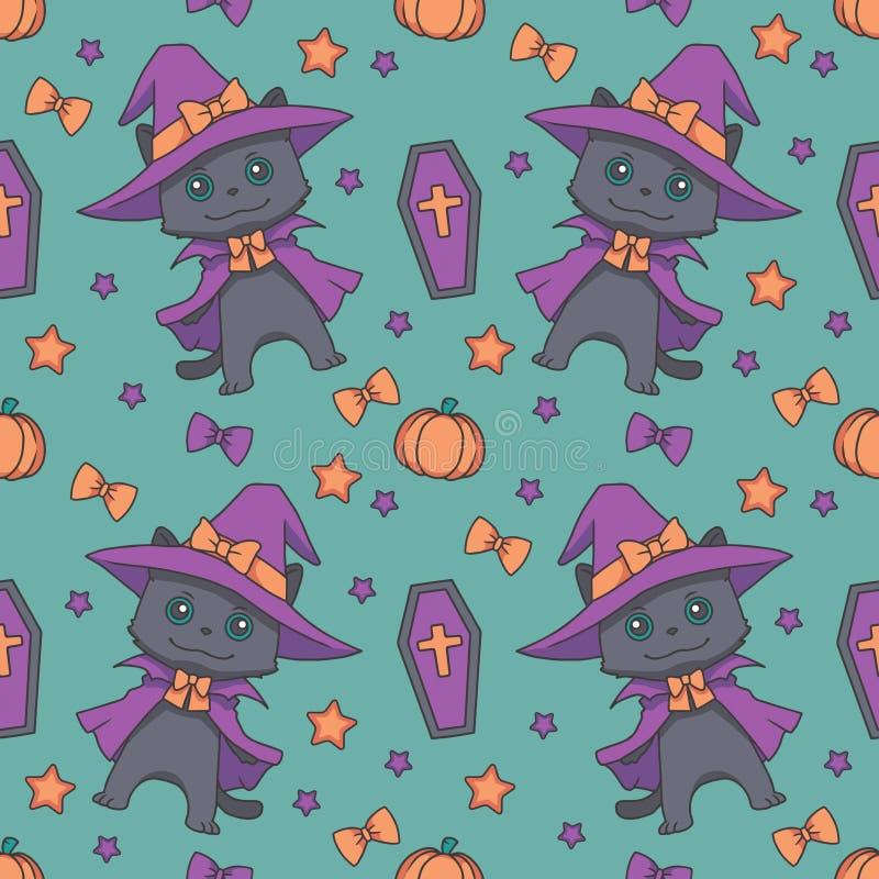Teste padrão sem emenda com os gatos pretos de Dia das Bruxas do estilo bonito dos desenhos animados, os caixões, as abóboras, as ilustração royalty free