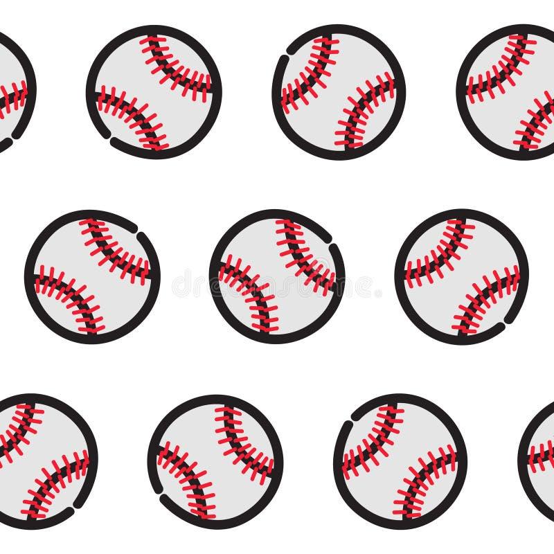 Teste padrão sem emenda com os gráficos das bolas do softball do basebol ilustração stock