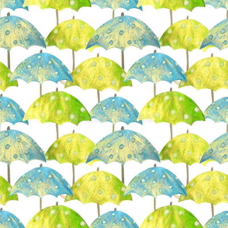Teste padrão sem emenda com os guarda-chuvas azuis e verdes tirados mão com círculos brancos no fundo branco ilustração royalty free