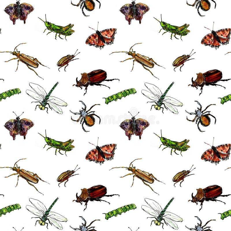 Teste padrão sem emenda com os insetos do desenho da aquarela ilustração royalty free