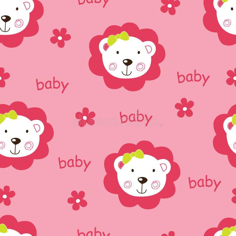 Teste padrão sem emenda com os leões bonitos do bebê ilustração royalty free