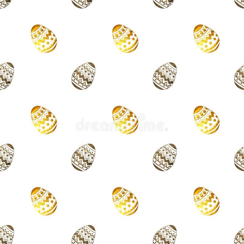 Teste padrão sem emenda com os ovos da páscoa perolados dourados e pretos no fundo branco ilustração do vetor