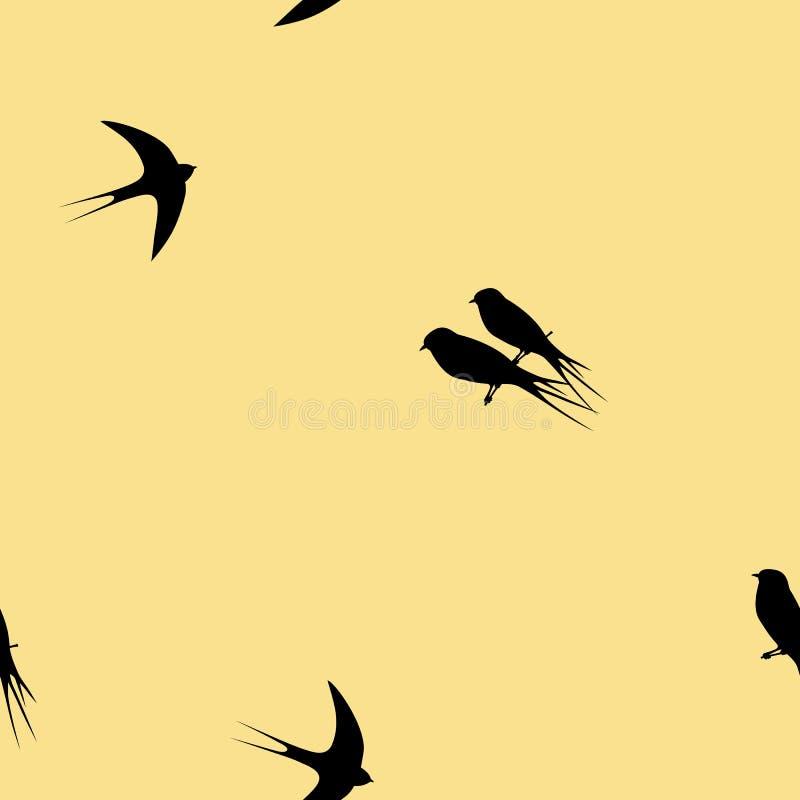 Teste padrão sem emenda com os pássaros pretos da andorinha em um fundo amarelo ilustração do vetor