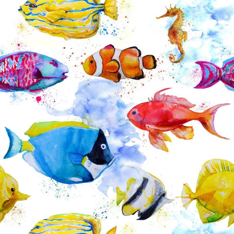 Teste padrão sem emenda com os peixes tropicais da aquarela ilustração do vetor