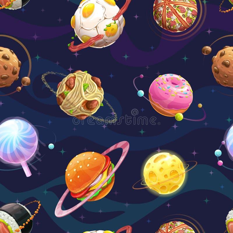 Teste padrão sem emenda com os planetas do alimento da fantasia dos desenhos animados ilustração do vetor