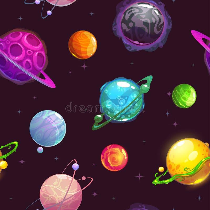 Teste padrão sem emenda com os planetas dos desenhos animados da fantasia ilustração stock