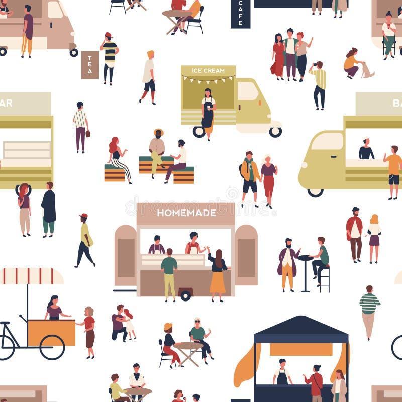 Teste padrão sem emenda com os povos que andam entre camionetes e quiosque, refeições caseiros de compra, comendo e bebendo na ilustração stock