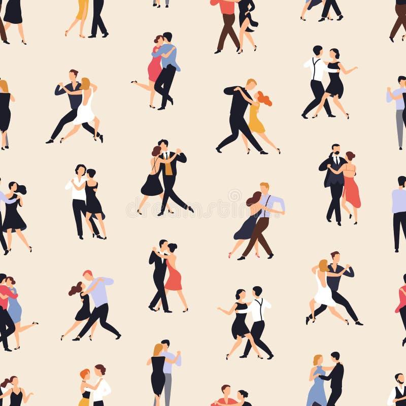 Teste padrão sem emenda com os povos que dançam o tango de Argentina no fundo claro Contexto com os homens e as mulheres que exec ilustração royalty free