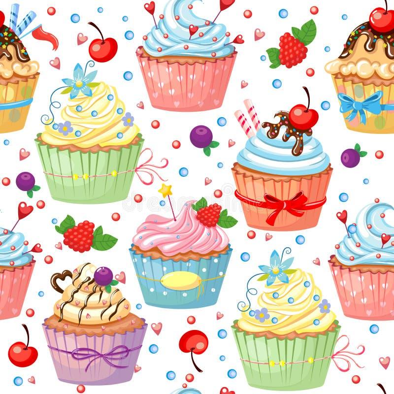 Teste padrão sem emenda com os queques coloridos doces ilustração do vetor