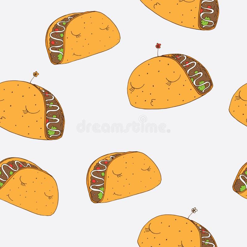 Teste padrão sem emenda com os tacos mexicanos bonitos tirados com mão com caras bonitas Projeto bom para o papel e a matéria têx ilustração do vetor