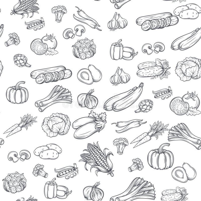 Teste padrão sem emenda com os vegetais tirados mão ilustração do vetor