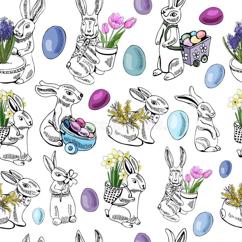 Teste padrão sem emenda com ovos, coelho, e flores da mola para a decoração feliz da Páscoa Esboço colorido tirado mão ilustração royalty free