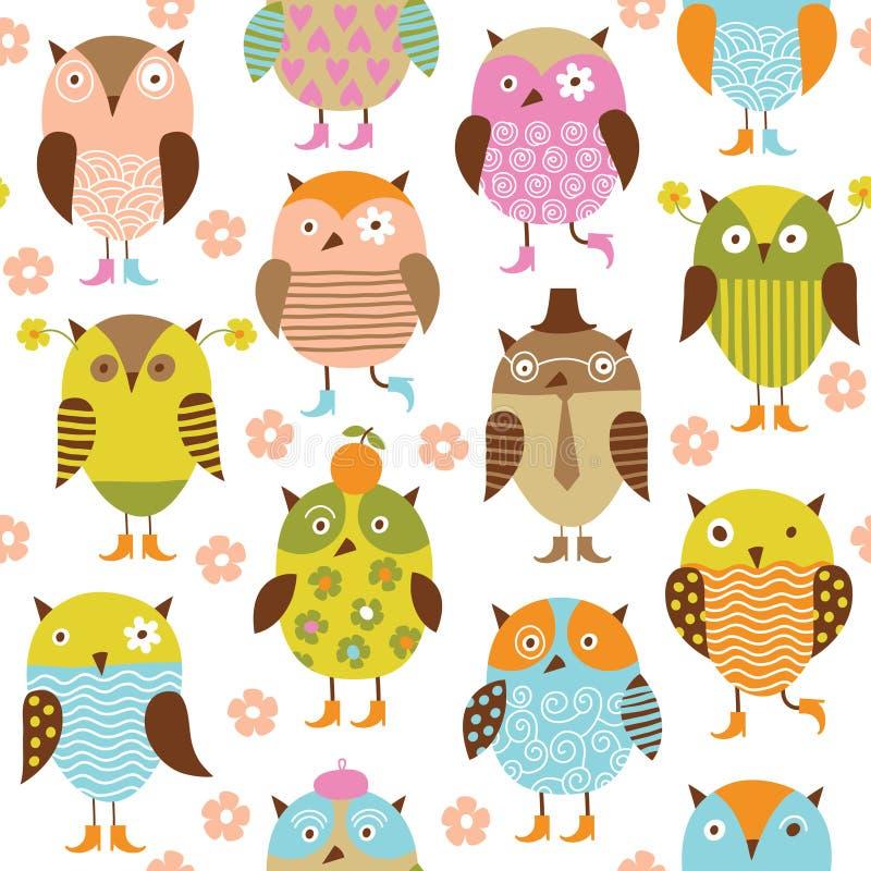Teste padrão sem emenda com pássaros ilustração royalty free