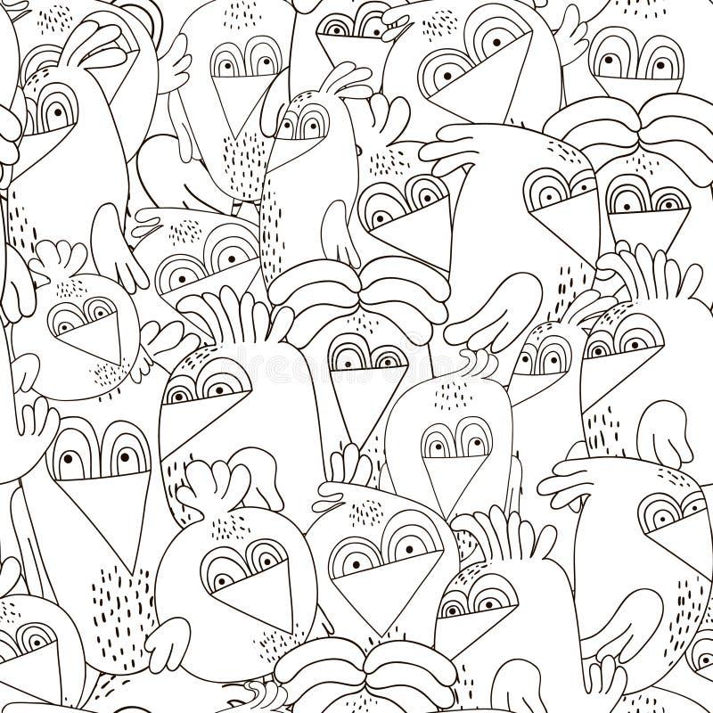 Teste padrão sem emenda com pássaros bonitos Textura preto e branco monocromática com pássaros engraçados Olhe perfeitamente na t ilustração royalty free