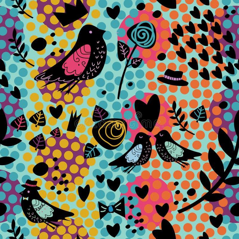 Teste padrão sem emenda com pássaros e flor fotos de stock royalty free