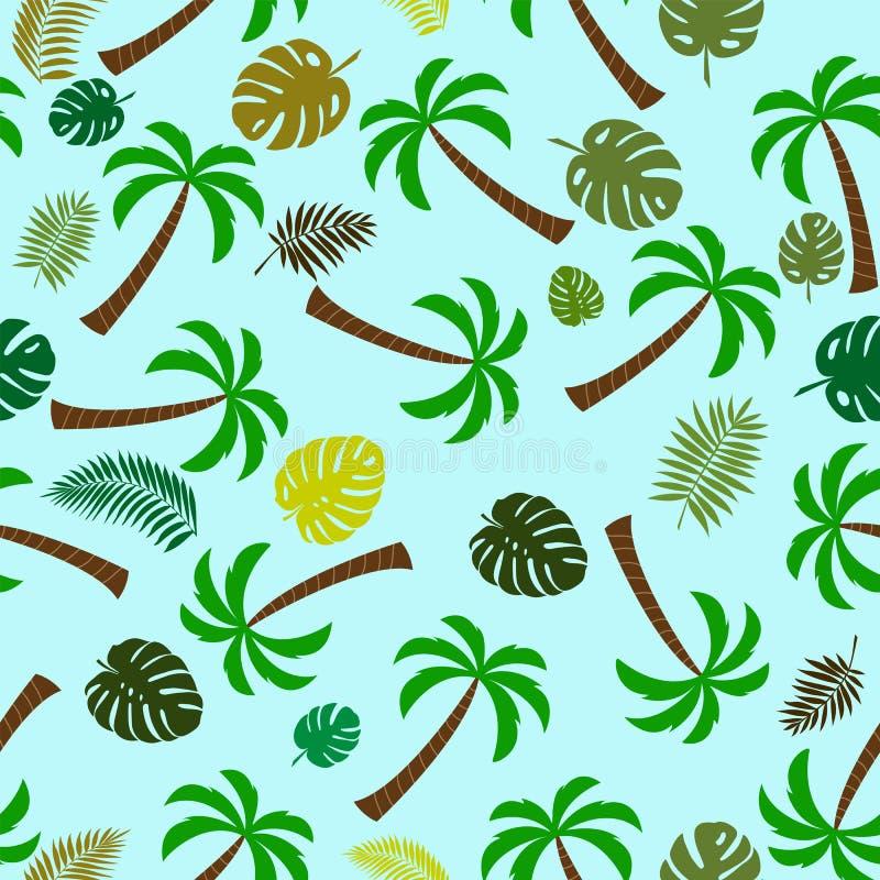 Teste padrão sem emenda com palmeiras e folhas da planta tropical Solução ideal para a tela e o projeto de empacotamento ilustração do vetor