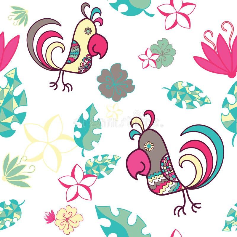 Teste padrão sem emenda com papagaios e as plantas tropicais em um CCB branco ilustração royalty free