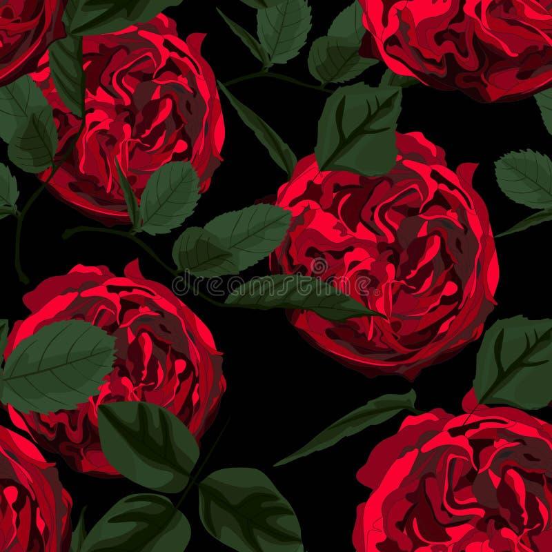 Teste padrão sem emenda com a peônia das rosas vermelhas e as folhas verdes Aperfeiçoe para cartões do fundo e convites do casame ilustração royalty free