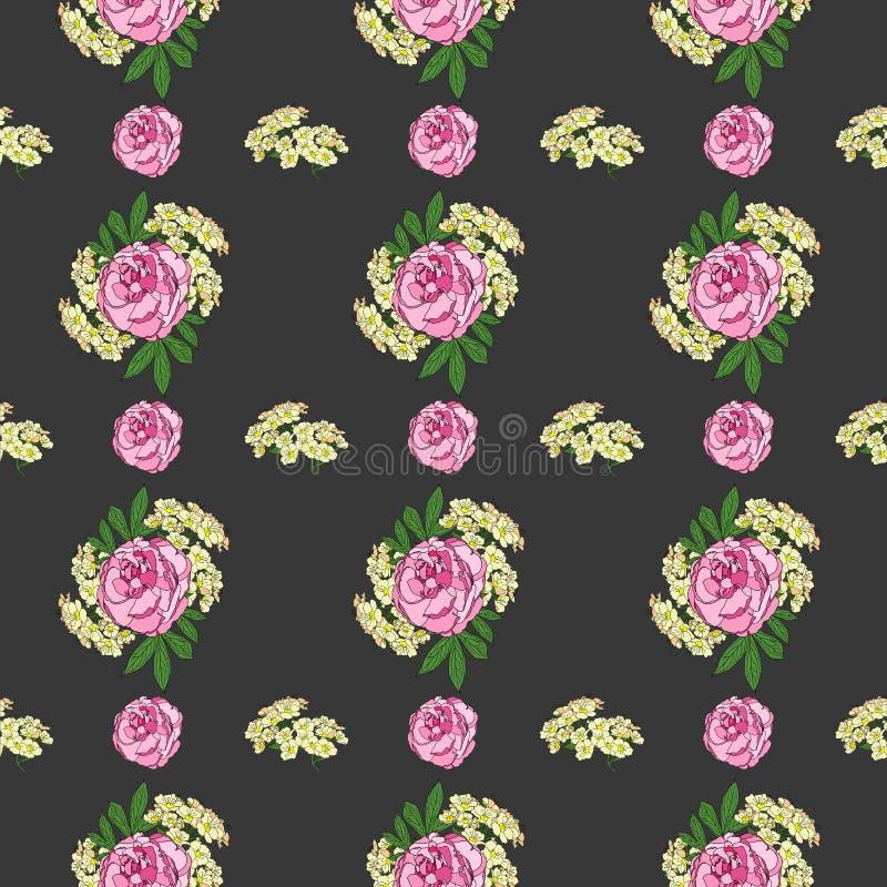 Teste padrão sem emenda com peônia e as flores pequenas brancas no fundo preto Pintura de Digitas ilustração do vetor