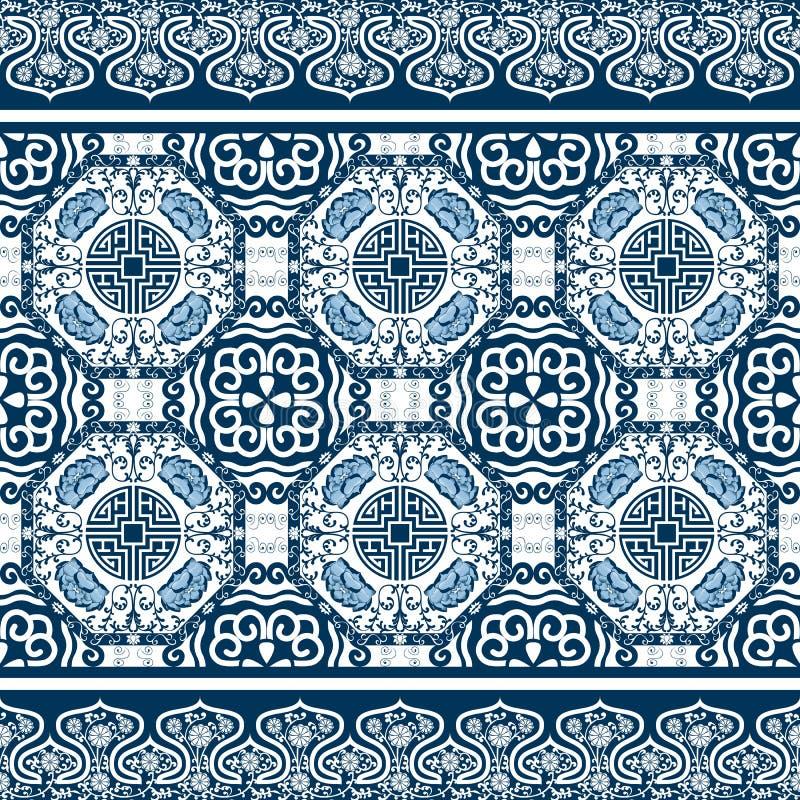 Teste padrão sem emenda com a peônia chinesa do ornamento ilustração royalty free