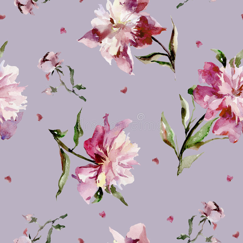 Teste padrão sem emenda com peônias cor-de-rosa e corações pequenos Pintura da aguarela ilustração do vetor