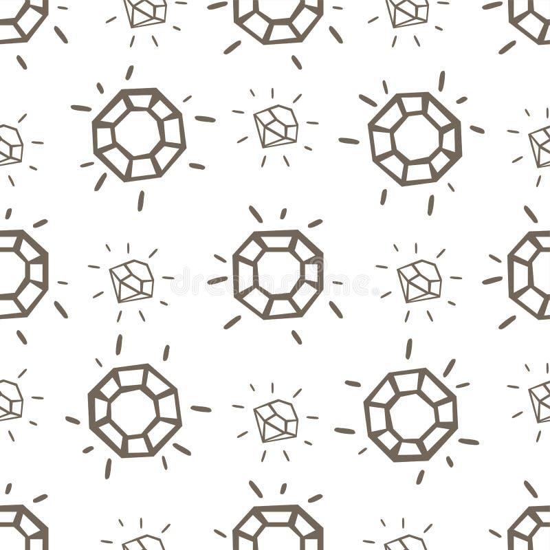 Teste padrão sem emenda com pedras da joia ilustração do vetor