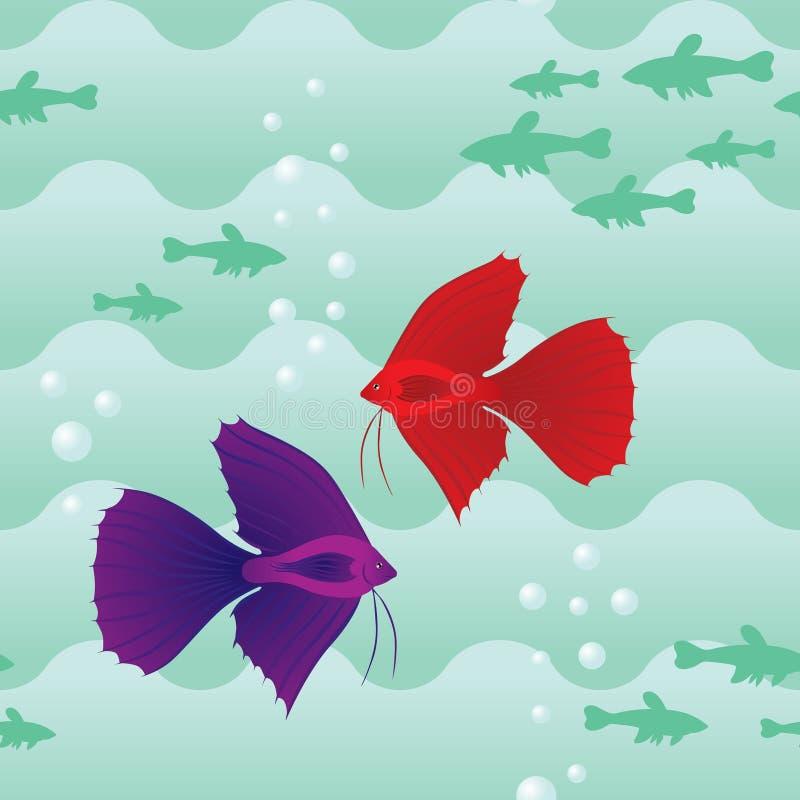 Download Teste Padrão Sem Emenda Com Peixes Ilustração do Vetor - Ilustração de subaquático, brânquias: 26501856