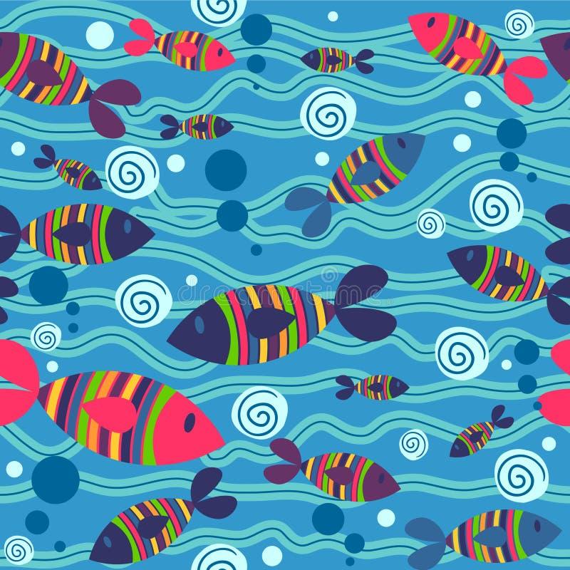 Teste padrão sem emenda com peixes ilustração do vetor