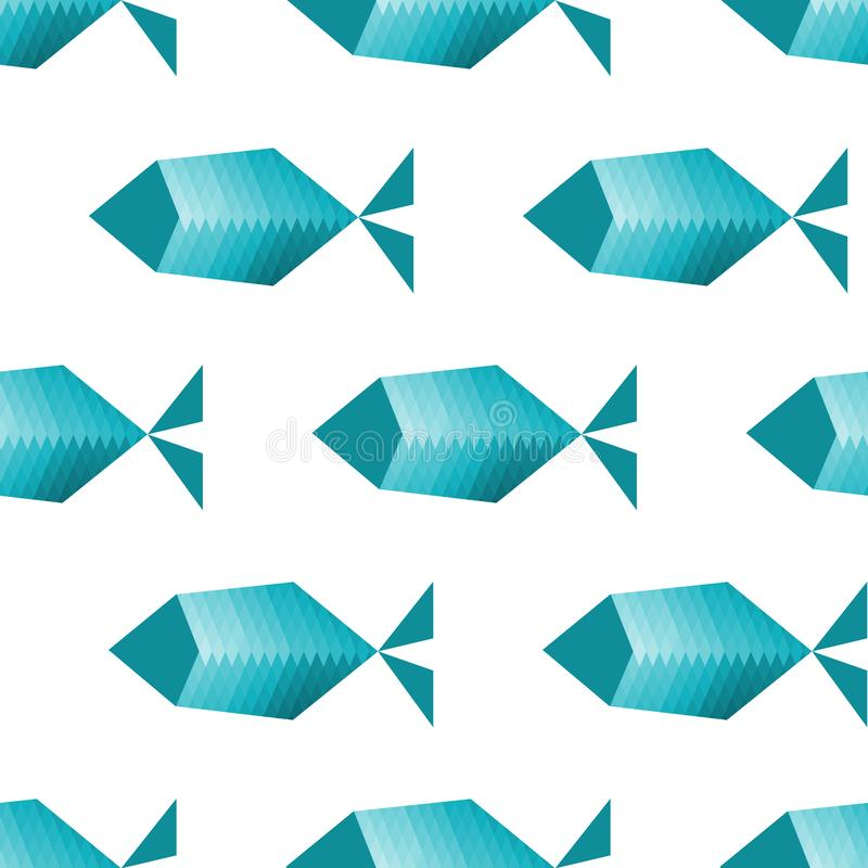 Teste padrão sem emenda com peixes estilizados ilustração do vetor