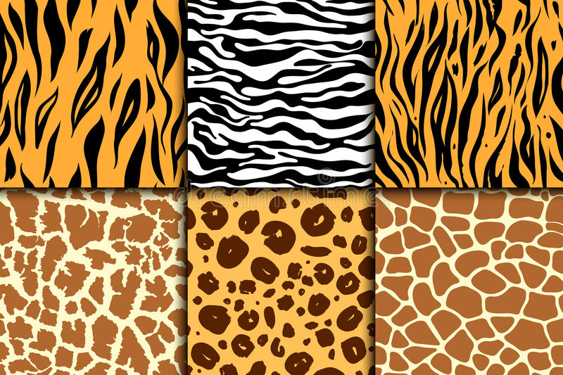 Teste padrão sem emenda com pele da chita Fundo do vetor Cópia animal exótica colorida da zebra e do tigre, do leopardo e do gira ilustração royalty free