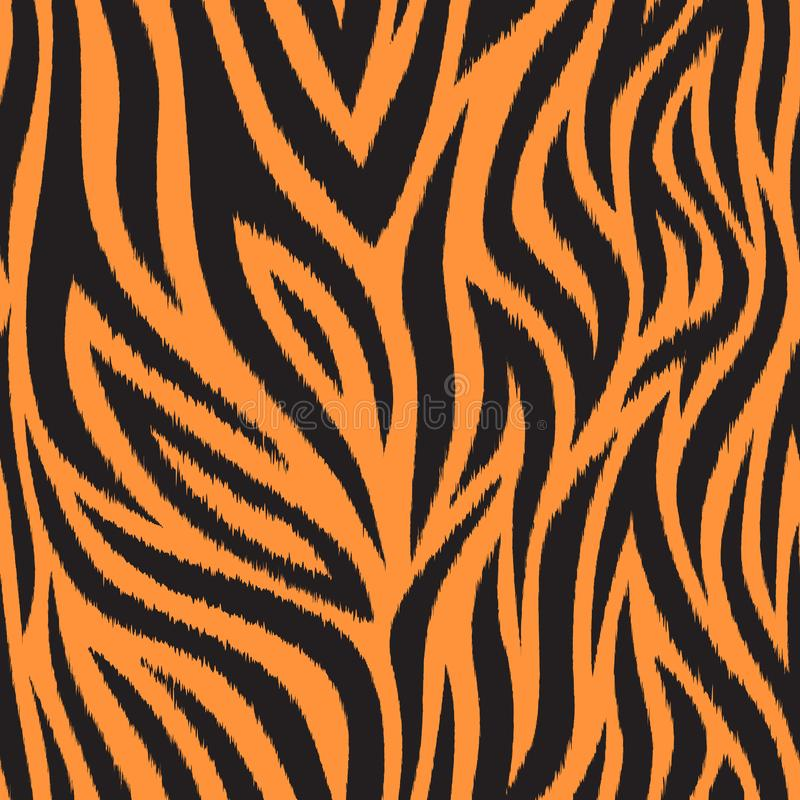 Teste padrão sem emenda com pele do tigre Listras pretas e alaranjadas do tigre Textura popular ilustração do vetor