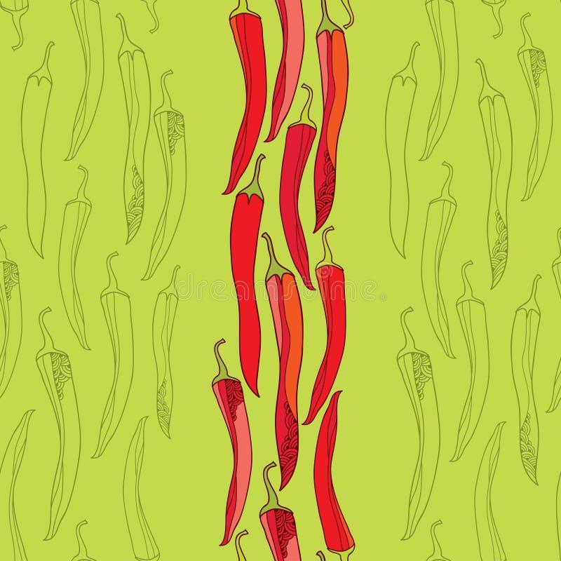 Teste padrão sem emenda com pimentas de pimentão vermelho ilustração stock