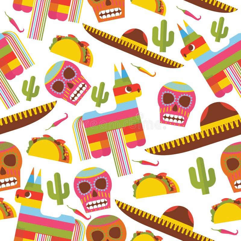Teste padrão sem emenda com pinata, chapéu do sombreiro, scull, taco e cacto Projete dedicado ao mexica e aos objetos tradicionai ilustração do vetor