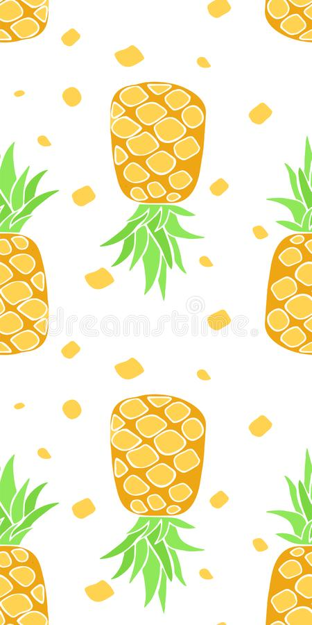 Teste padrão sem emenda com pineaplles Fundo brilhante tropical com fruto ilustração do vetor