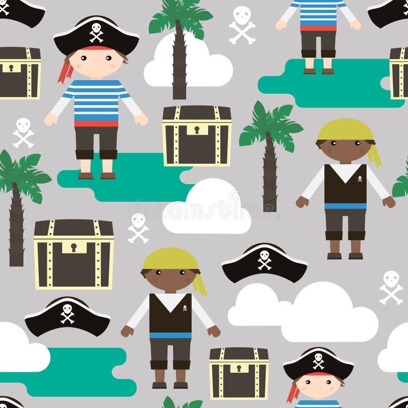 Teste padrão sem emenda com piratas Caçoa a textura da tela Ilustração do vetor ilustração royalty free
