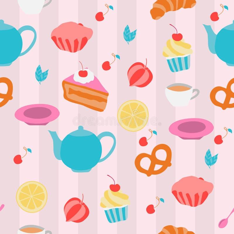 Teste padrão sem emenda com potenciômetros, copos e sweeties do chá Vetor Illust ilustração stock
